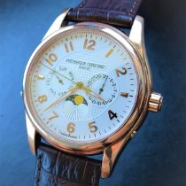 Frederique Constant Runabout Moonphase pre-owned 43mm Silver Moon phase Date Weekday Leather