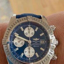 Breitling Chronomat Evolution gebraucht 44mm Schwarz Chronograph Datum Stahl