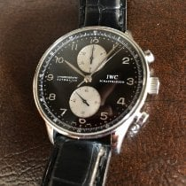 IWC Portuguese Chronograph pre-owned 41mm Black Chronograph Leather