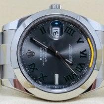 Rolex Datejust Staal 41mm Grijs Geen cijfers