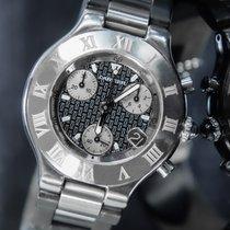 Cartier 21 Chronoscaph Stahl 38mm Schwarz Keine Ziffern
