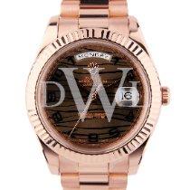 Rolex Day-Date II Ouro rosa 41mm Castanho Romanos