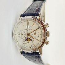 Patek Philippe Platinum Manual winding Silver No numerals 36mm pre-owned Perpetual Calendar Chronograph