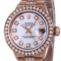 Rolex Rose gold Automatic Mother of pearl No numerals 26mm pre-owned Datejust