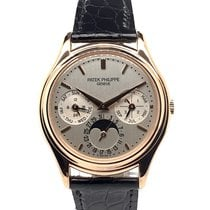 Patek Philippe Perpetual Calendar pre-owned 36mm Silver Moon phase Date Weekday Month Year 4-year calendar Perpetual calendar Crocodile skin