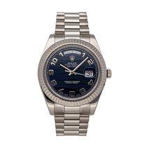 Rolex Day-Date II Witgoud 36mm Blauw Arabisch