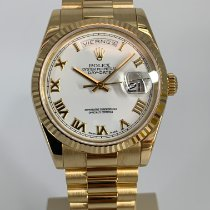 Rolex Day-Date 36 Or jaune 36mm Blanc Romains