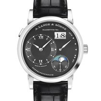 A. Lange & Söhne White gold Manual winding Black 38.5mm new Lange 1