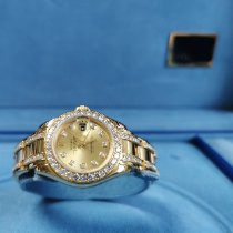 Rolex Lady-Datejust Pearlmaster Or jaune 29mm Champagne Sans chiffres