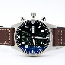 IWC Pilot Chronograph usado 43mm Verde Cronógrafo Data Pele