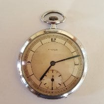 Lanco Steel 47mm Manual winding Lanco Pocket watch 1950's, Chrome Case, Working, Slim Modern Design, Very Good Condition, 15 Jewel Rubies Movement, Swiss Made pre-owned United States of America, California, Rancho Santa Fe, CA