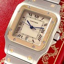 Cartier Santos Galbée Золото/Cталь 29mm Белый Римские