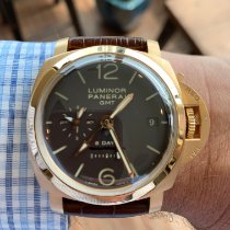 Panerai Luminor 1950 8 Days GMT pre-owned 44mm Brown Date GMT Buckle