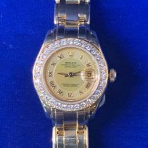 Rolex Lady-Datejust Pearlmaster pre-owned 29mm Mother of pearl Date Yellow gold