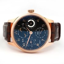 IWC Portuguese Perpetual Calendar pre-owned 44.2mm Black Moon phase Date Weekday Month Year Perpetual calendar Crocodile skin