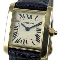 Cartier Tank Française Gult guld 20mm Hvid Romertal
