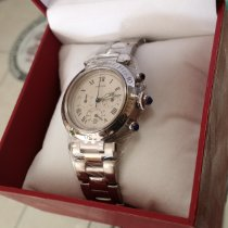 Cartier Pasha pre-owned 38mm White Chronograph Date Steel