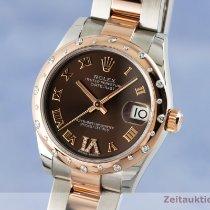 Rolex Lady-Datejust Χρυσός / Ατσάλι 31mm Καφέ