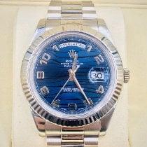 Rolex Day-Date II Bjelo zlato 41mm Plav-modar Arapski brojevi