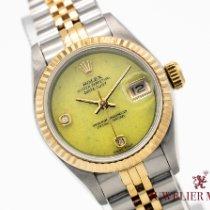 Rolex Lady-Datejust Or/Acier 26mm Vert Sans chiffres