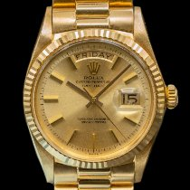 Rolex Day-Date pre-owned 36mm Silver Date Weekday Yellow gold