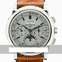 Patek Philippe White gold Manual winding Silver 40mm pre-owned Perpetual Calendar Chronograph
