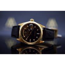 Rolex Day-Date 36 gebraucht 36mm Schwarz Datum Straußenleder