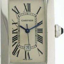 Cartier Tank Américaine gebraucht 41,5mm Weiß Datum Leder