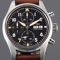 IWC Pilot Spitfire Chronograph Stal 41mm Czarny Arabskie