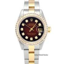 Rolex Lady-Datejust Or/Acier 26mm Bordeaux Sans chiffres