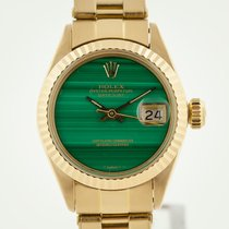 Rolex Oyster Perpetual Lady Date Yellow gold 26mm Green No numerals