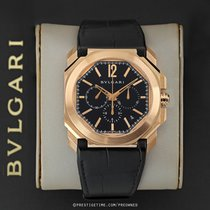 Bulgari Rose gold Automatic Black 41.5mm pre-owned Octo