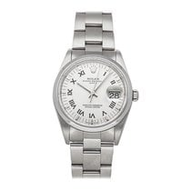 Rolex Steel Automatic Silver Roman numerals 34mm pre-owned Oyster Perpetual Date