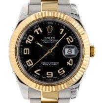 Rolex Datejust II gebraucht 41mm Schwarz Datum Gold/Stahl