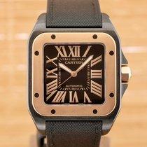 Cartier Santos 100 Золото/Cталь Черный Римские