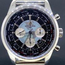 Breitling Transocean Chronograph Unitime occasion 46mm Noir Chronographe Date GMT Acier