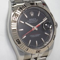 Rolex Steel Automatic Black 36mm pre-owned Datejust Turn-O-Graph