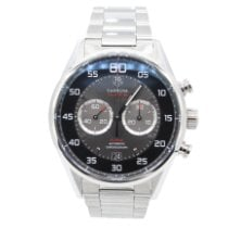TAG Heuer Carrera Calibre 36 pre-owned 43mm Black Chronograph Flyback Date Steel