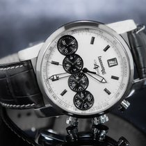 Eberhard & Co. Chrono 4 Acier 41mm Blanc Sans chiffres