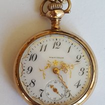 Waltham Vintage Gold Plated Waltham Pocket Watch, Working, Year 1903, Model 1900, 15 Jewel, Open Face, 32 mm Small Case, White Face, Gold Detailing 1903 pre-owned