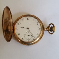 Elgin Vintage Elgin Pocket Watch, Yellow Gold Filled, Year 1906, 15 Jewel, Size 16s, White Face, Black Numerals and Red Numerals, Seconds Hand 1906 pre-owned