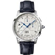 Glashütte Original Platinum Automatic Silver Roman numerals 42mm new Senator Chronograph Panorama Date