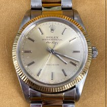 Rolex Air King pre-owned 34mm Champagne Date Gold/Steel