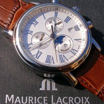 Maurice Lacroix Les Classiques Phases de Lune Stahl 40mm Silber Römisch