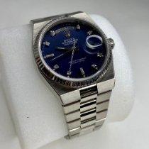 Rolex Oro blanco Cuarzo Azul Sin cifras 36mm usados Day-Date Oysterquartz