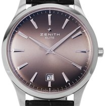 Zenith Captain Central Second Stal 40mm Brązowy