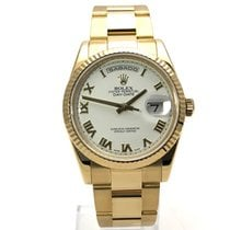 Rolex Day-Date 36 Oro amarillo 36mm Blanco Romanos