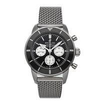Breitling Superocean Héritage II Chronographe gebraucht 44mm Schwarz Chronograph Datum Faltschließe