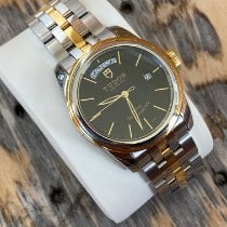 Tudor Glamour Date-Day pre-owned 39mm Black Date Weekday Gold/Steel