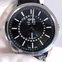 Oris Artix Complication pre-owned 42mm Black Moon phase Date Leather